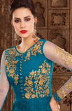 Peacock Blue & Yellow Designer Embroidered Net Anarkali Suit-Saira's Boutique