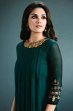 Peacock Green Designer Embroidered Georgette Kurti