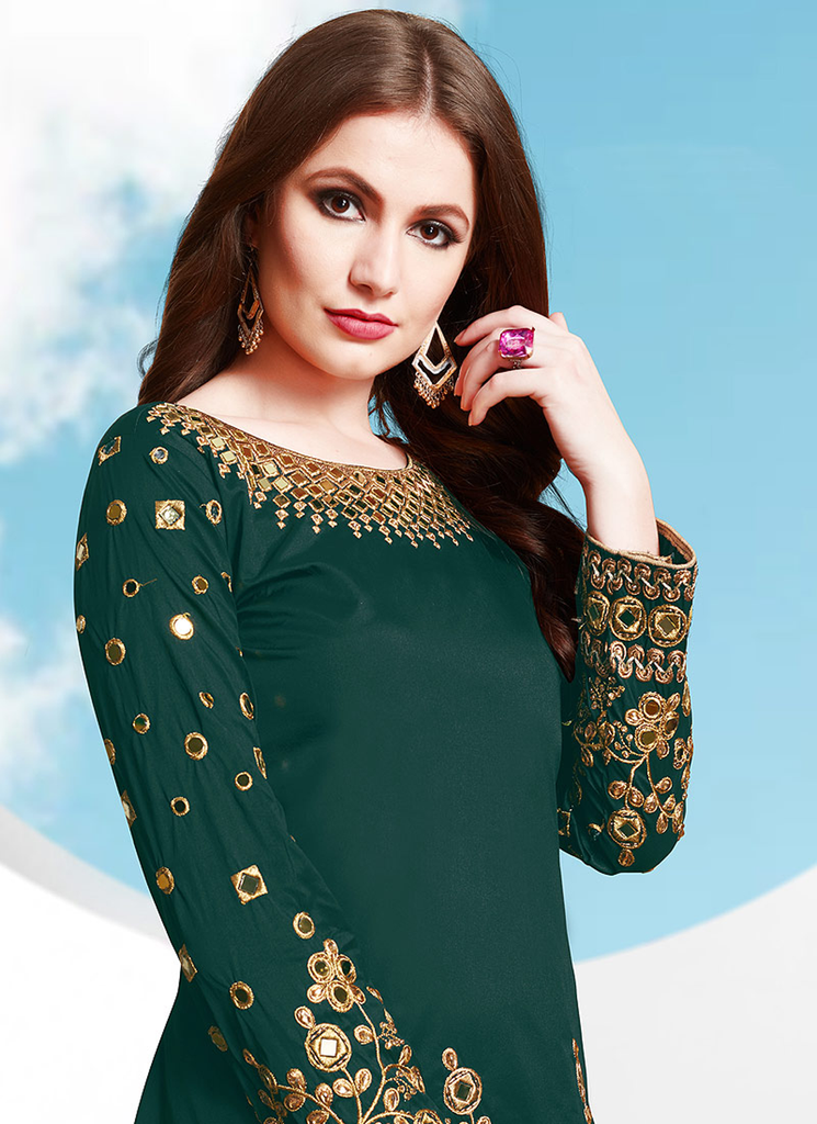 Peacock Green Designer Embroidered Mirror Work Patiala Suit-Saira's Boutique