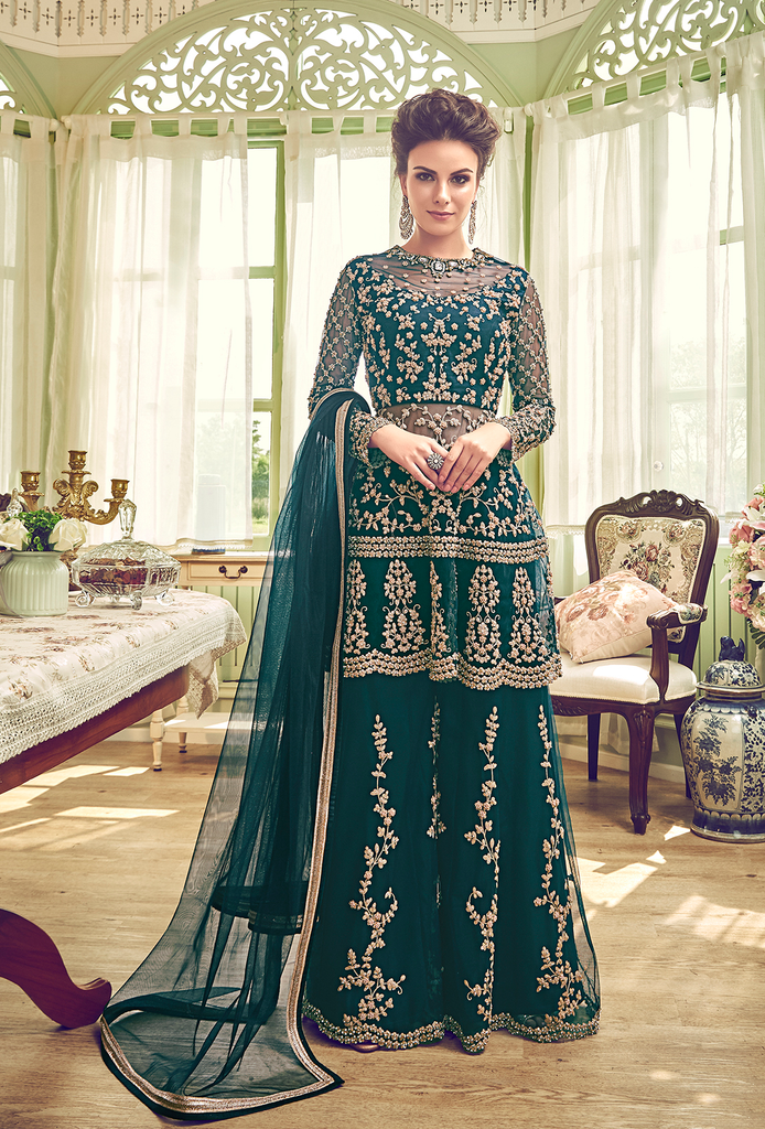 Peacock Green Designer Heavy Embroidered Wedding Net Palazzo Suit-Saira's Boutique