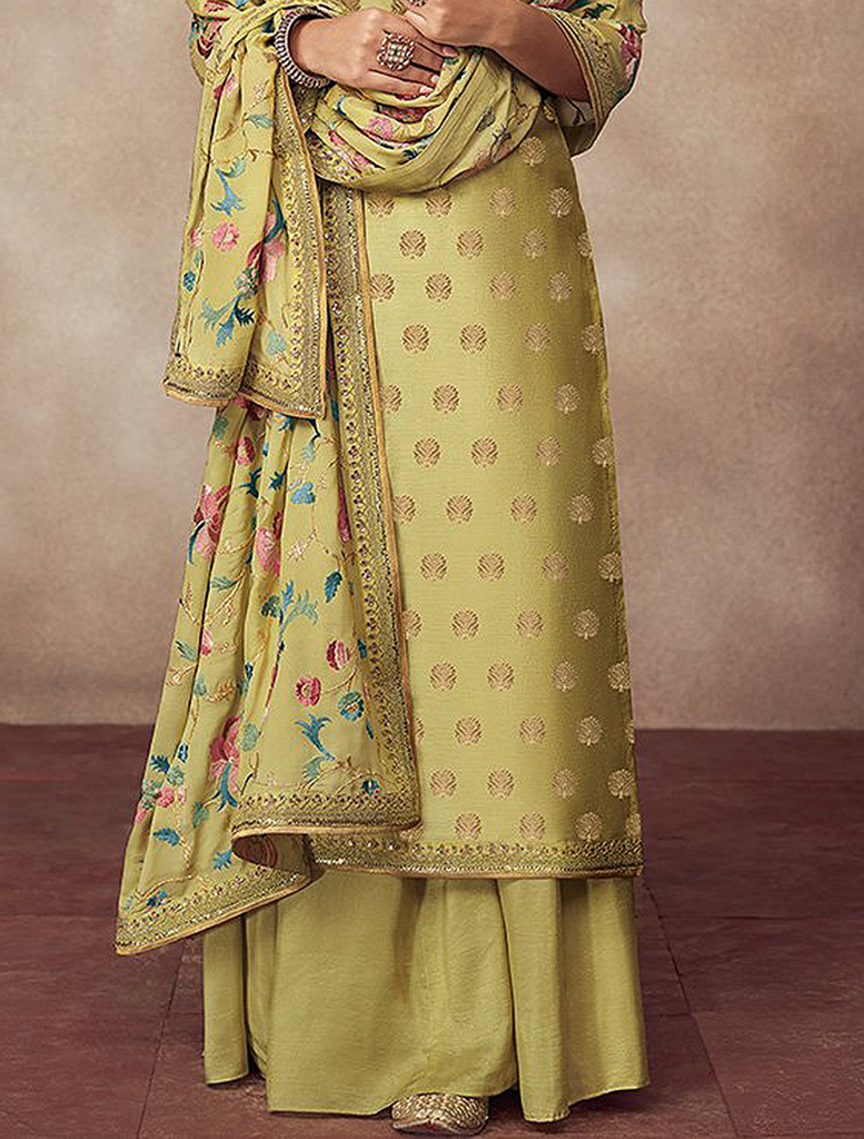 Pear Green Designer Heavy Embroidered Silk Jacquard Sharara Suit-Saira's Boutique