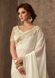 Pearl White Designer Embroidered Silk Party Wear Saree-Saira's Boutique