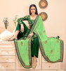 Pine Green & Light Green Designer Embroidered Silk Jacquard Palazzo Suit-Saira's Boutique