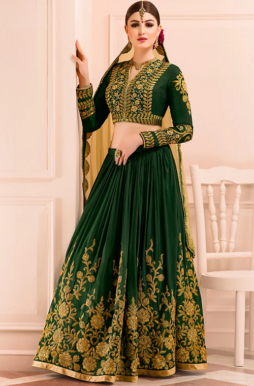 Pine Green Designer Heavy Embroidered Silk Lehenga-Saira's Boutique