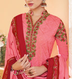 Pink Designer Embroidered Georgette Party Wear Pant Suit-Saira's Boutique