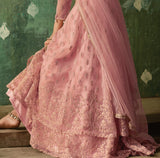 Pink Designer Embroidered Net Lehenga Style Anarkali Suit-Saira's Boutique