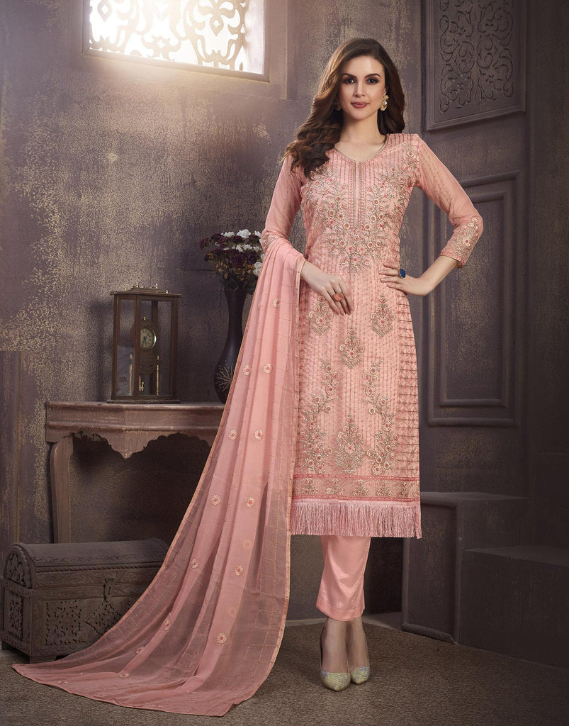 Pink Designer Embroidered Organza Party Wear Pant Suit-Saira's Boutique