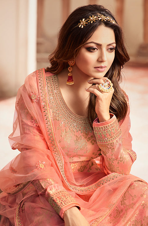 Pink Peach Designer Embroidered Jacquard Sharara Suit-Saira's Boutique
