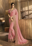 Pink Designer Embroidered Fancy Party Wear Saree-Saira's Boutique