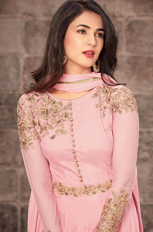 Pink Designer Embroidered Net Party Wear Anarkali Suit