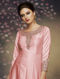 Pink Designer Embroidered Satin Silk Anarkali Gown-Saira's Boutique