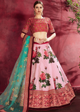 Pink Designer Embroidered Silk Floral Print Lehenga Choli-Saira's Boutique