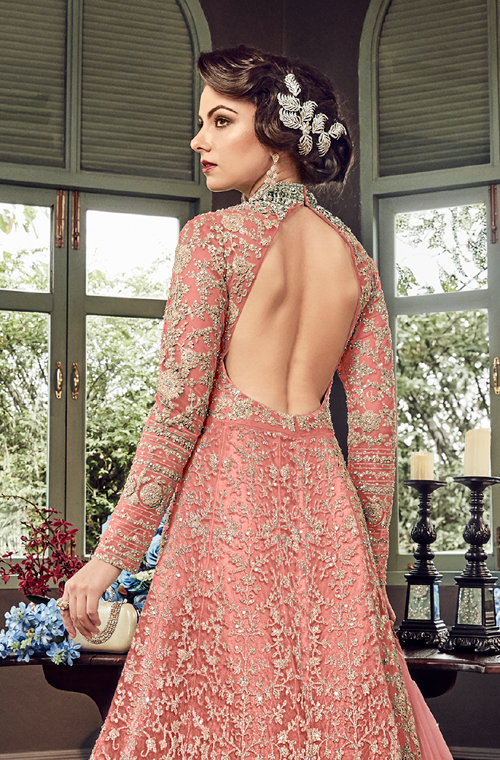 Pink Designer Heavy Embroidered Net Bridal Anarkali Gown-Saira's Boutique