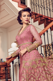 Pink Designer Heavy Embroidered Net Bridal Pant Style Anarkali Suit-Saira's Boutique