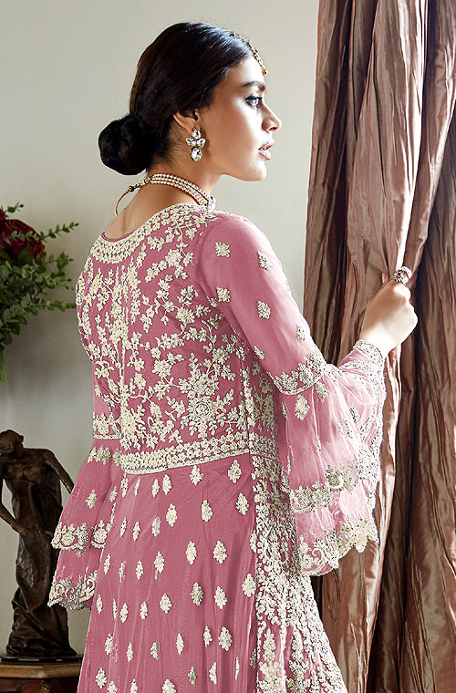 Pink Designer Heavy Embroidered Net Wedding Sharara Suit-Saira's Boutique