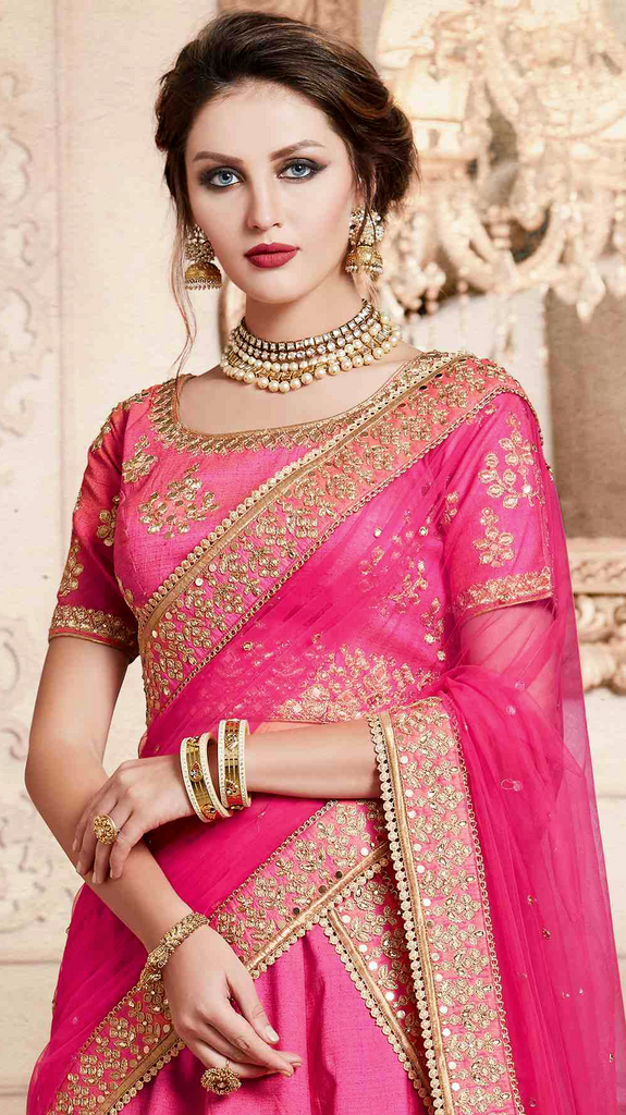 Pink Designer Heavy Embroidered Silk Wedding Lehenga