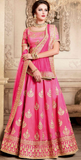 Pink Designer Heavy Embroidered Silk Wedding Lehenga-Saira's Boutique