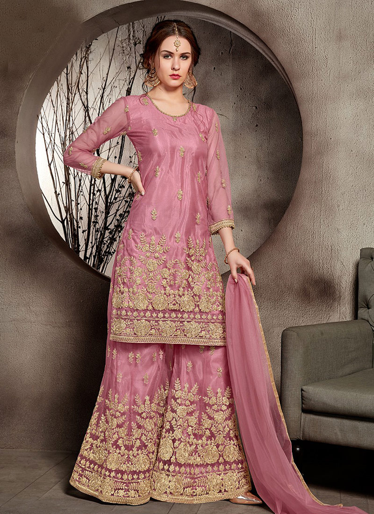 Pink & Gold Designer Embroidered Wedding Net Palazzo Suit-Saira's Boutique