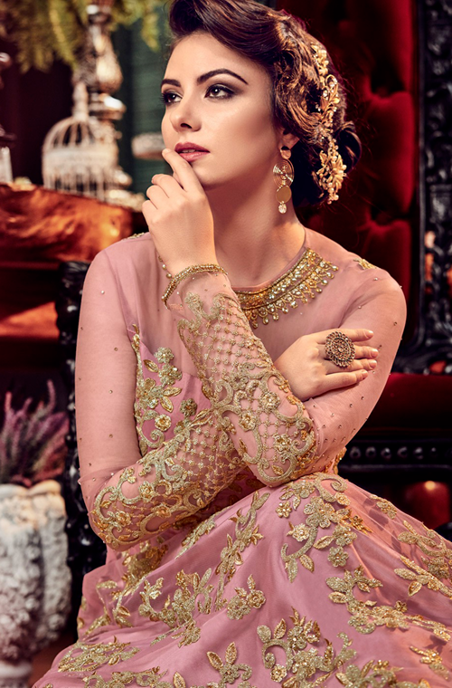 Pink & Gold Designer Heavy Embroidered Net Bridal Anarkali Gown-Saira's Boutique