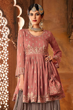 Pink & Gray Designer Heavy Embroidered Georgette Sharara Suit-Saira's Boutique