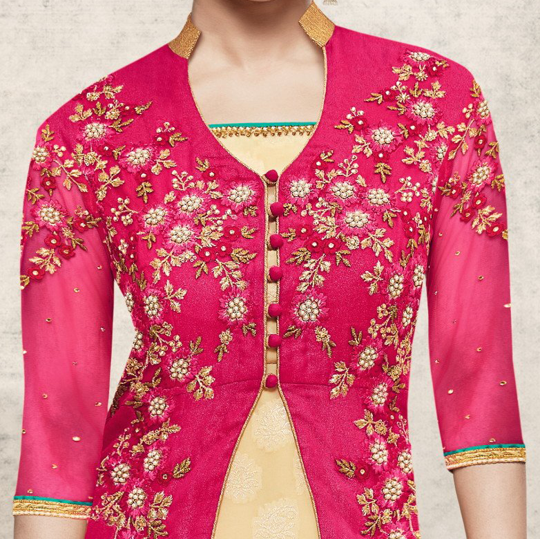 Pink & Green Designer Embroidered Georgette Pant Suit