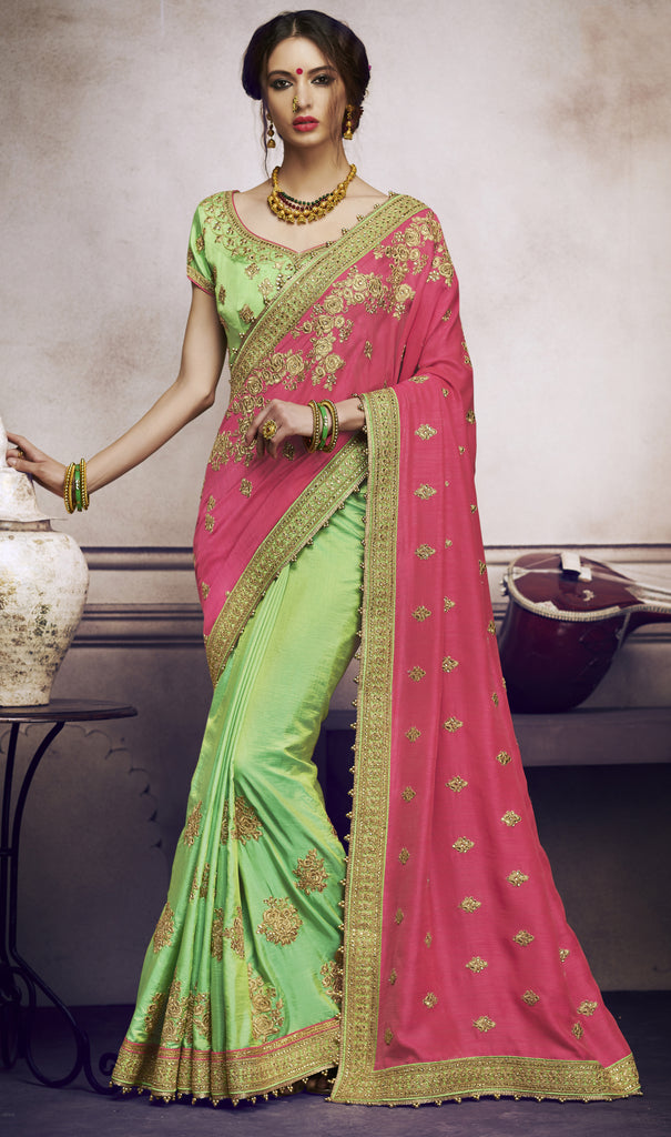 Pink & Green Designer Heavy Embroidered Silk Wedding Saree-Saira's Boutique