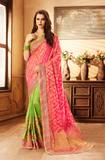 Pink & Parrot Green Designer Embroidered Fancy Wedding Saree-Saira's Boutique