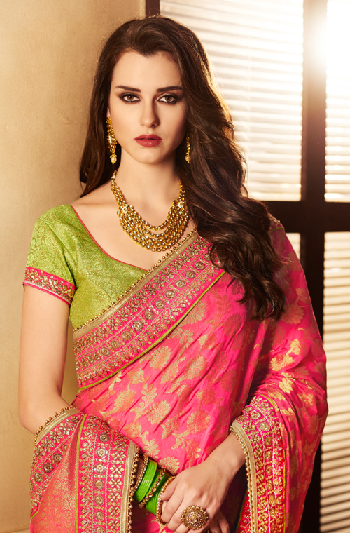 Pink & Parrot Green Designer Embroidered Fancy Wedding Saree