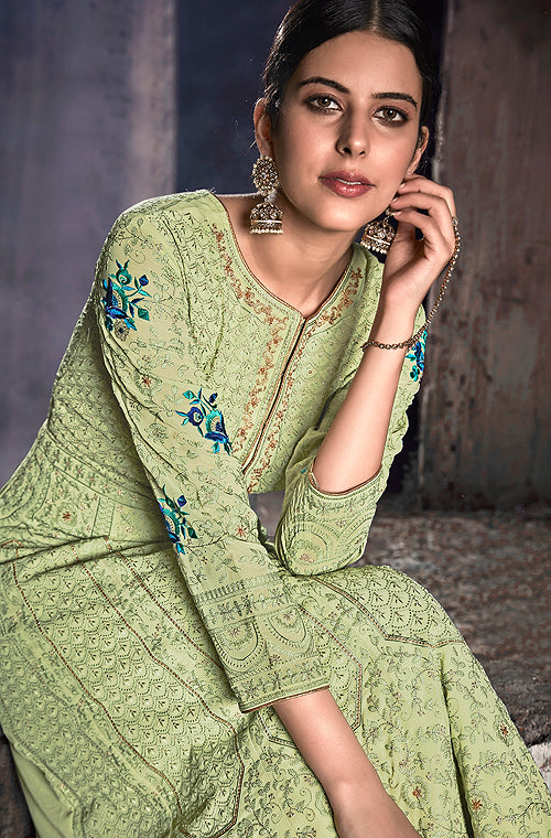 Pista Green Designer Embroidered Georgette Anarkali Suit-Saira's Boutique