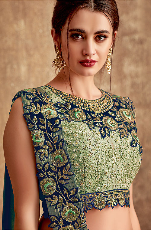 Pista Green & Navy Blue Designer Embroidered Silk Wedding Lehenga-Saira's Boutique