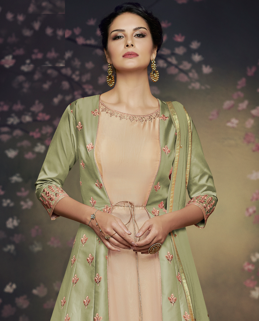 Pista Green & Beige Designer Embroidered Jacket Style Anarkali Gown-Saira's Boutique
