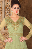 Pista Green Designer Embroidered Net Anarkali Gown