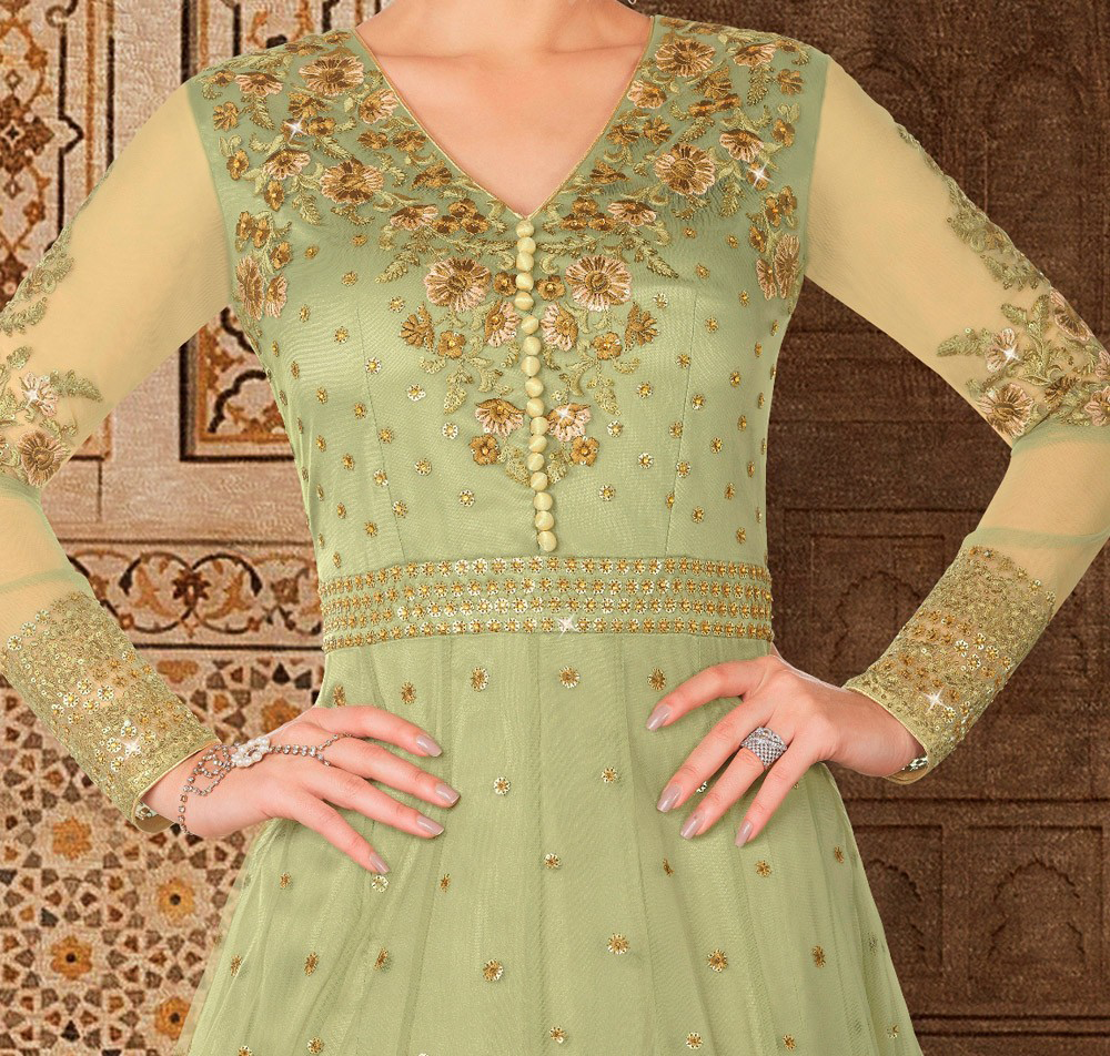 Pista Green Designer Embroidered Net Anarkali Gown-Saira's Boutique