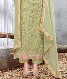 Pista Green Designer Embroidered Net Straight Cut Pant Suit-Saira's Boutique