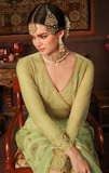 Pista Green Designer Embroidered Party Wear Net Pant Suit-Saira's Boutique