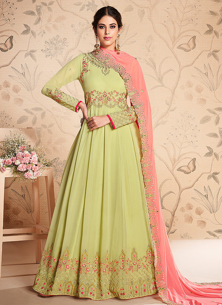 Pista Green & Pink Designer Embroidered Georgette Anarkali Suit-Saira's Boutique