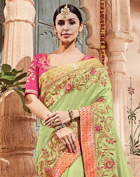 Pista Green & Pink Designer Heavy Embroidered Wedding Silk Saree-Saira's Boutique