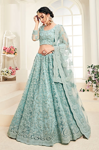 Pine Green Designer Heavy Embroidered Silk Lehenga