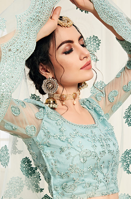 Powder Blue Designer Heavy Embroidered Bridal Lehenga-Saira's Boutique