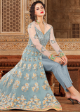 Powder Blue & Beige Designer Embroidered Net Anarkali Gown