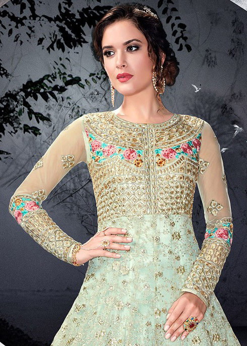 Powder Blue Designer Heavy Embroidered Net Wedding Anarkali Suit