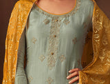 Powder Blue & Yellow Designer Embroidered Straight Cut Silk Pant Suit-Saira's Boutique
