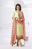 Cream Georgette Designer Embroidered Churidar Suit-Saira's Boutique