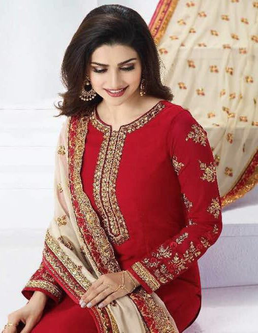 Red Georgette Designer Embroidered Churidar Suit-Saira's Boutique