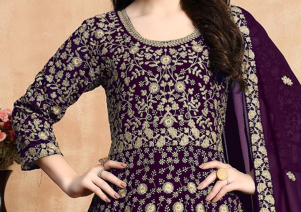 Purple Designer Heavy Embroidered Georgette Anarkali Suit-Saira's Boutique