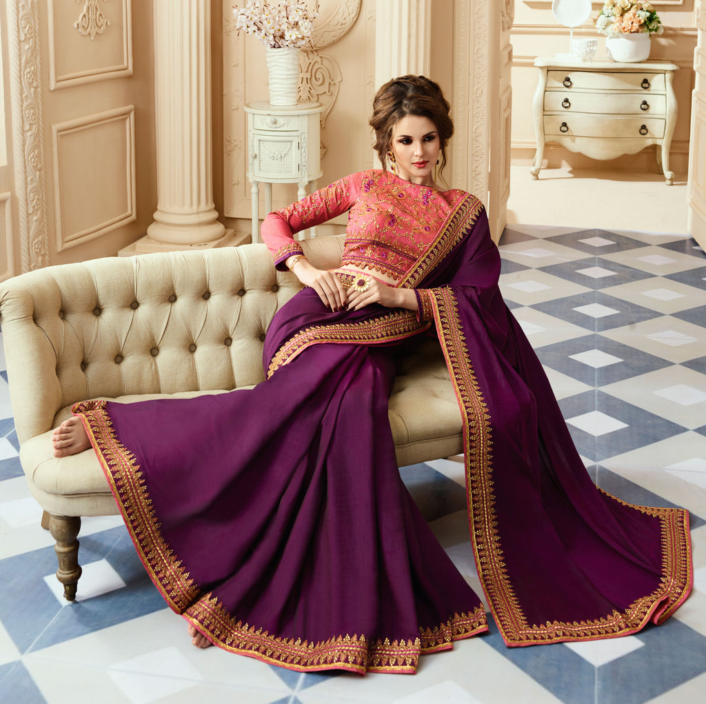 Purple & Coral Pink Designer Embroidered Silk Party Wear Saree-Saira's Boutique
