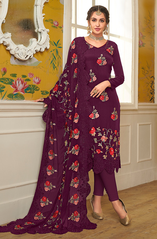 Purple Designer Embroidered Silk Party Wear Pant Suit-Saira's Boutique