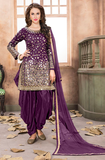 Purple Designer Embroidered Silk Party Wear Patiala Suit