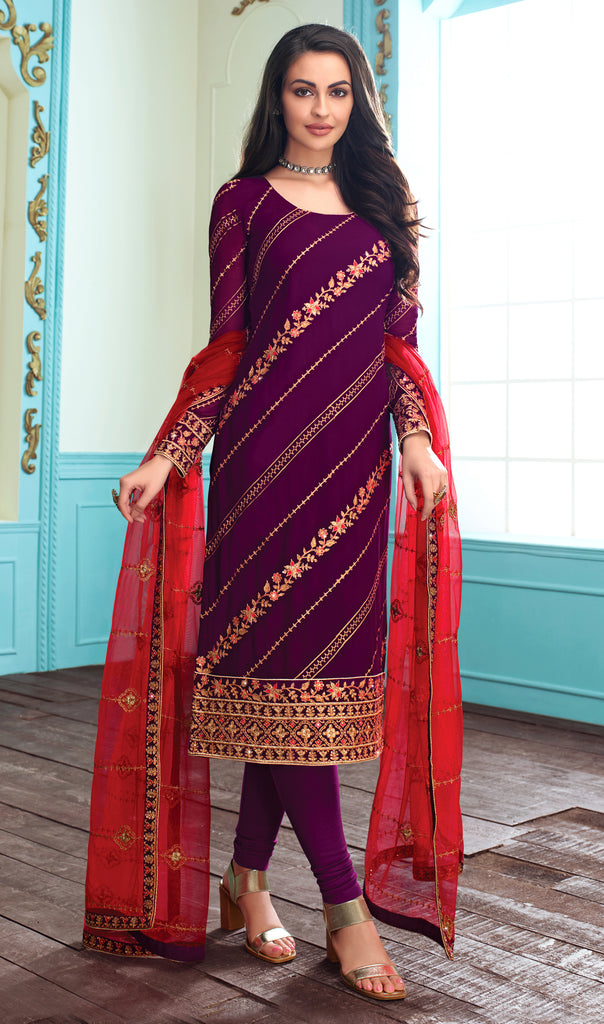 Purple & Red Designer Embroidered Georgette Churidar Suit-Saira's Boutique