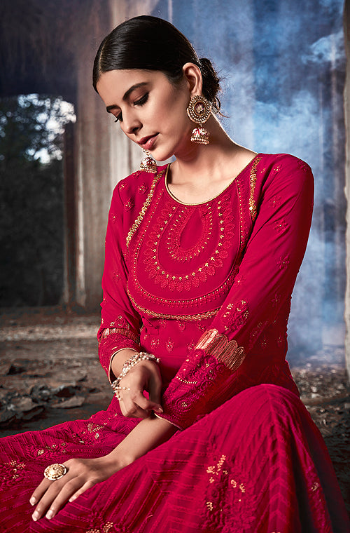 Raspberry Red Designer Embroidered Georgette Anarkali Suit-Saira's Boutique